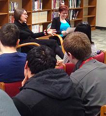 Authors Meg Medina and Jenna Black at Falls Church High School