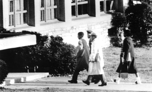 Ronald Deskins, Michael Jones, Lance Newman, and Gloria Thompson walked into Stratford Junior High School on February 2, 1959. Center for Local History, Arlington Public Library